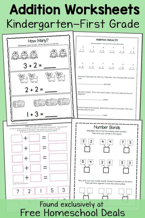 math worksheet : free addition worksheets k 1  instant download  free homeschool  : K 1 Math Worksheets