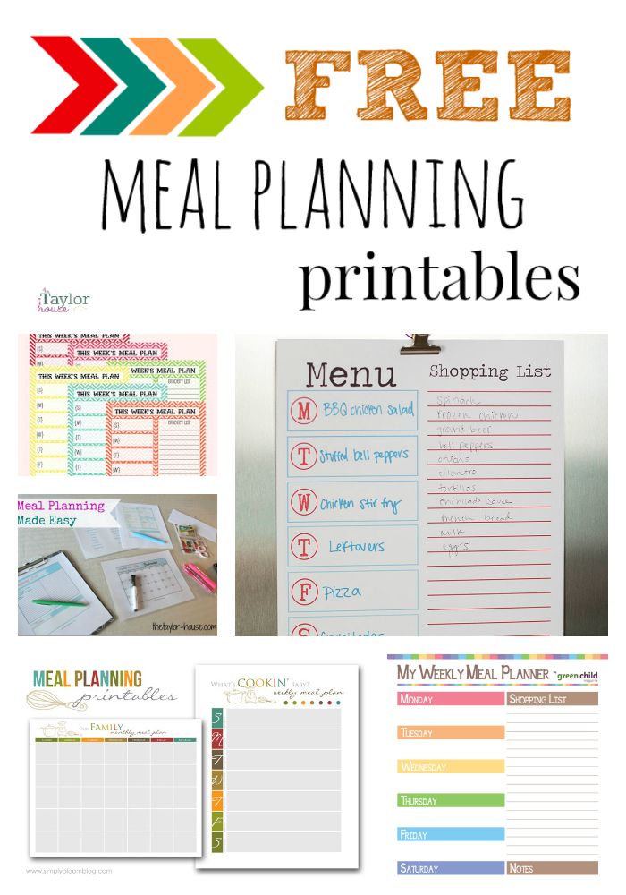 free set of meal planning printables