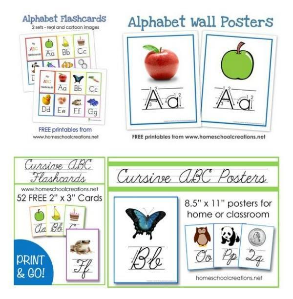Cursive writing alphabet poster for preschool