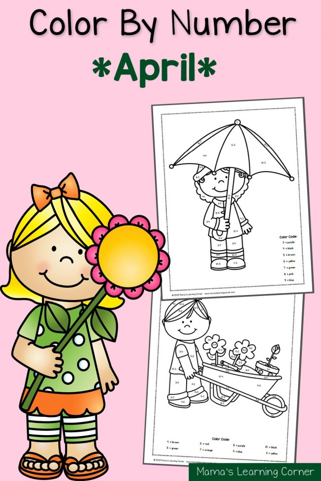 free april color by number worksheets free homeschool
