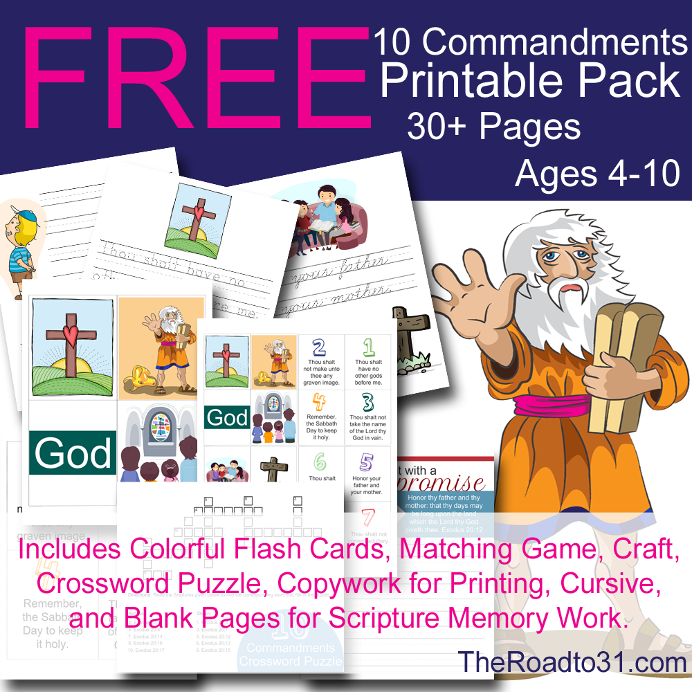 Free 10 commandments bible learning pack free homeschool for Ten commandments crafts for preschoolers