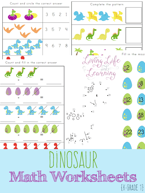 free dinosaur math worksheets 15 page pack free homeschool deals. Black Bedroom Furniture Sets. Home Design Ideas