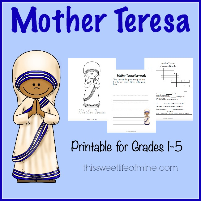FREE Mother Teresa Printables Pack | Free Homeschool Deals ©