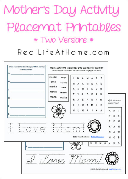 free mother 39 s day placemat activity printables free homeschool deals. Black Bedroom Furniture Sets. Home Design Ideas