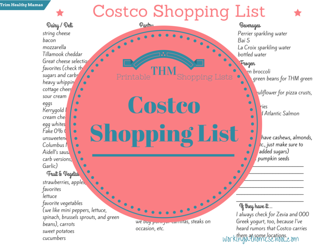Here is a FREE Costco Shopping List for THM ! This list includes a ...