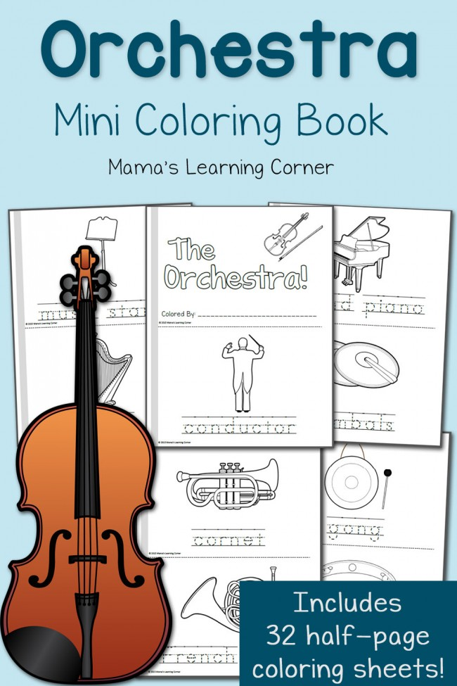 free orchestra mini coloring book