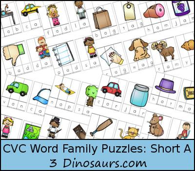 CVC Word Family Puzzles: -ad, -ab, -ag, -am, -an, -ap, -ar, -at 4 ...