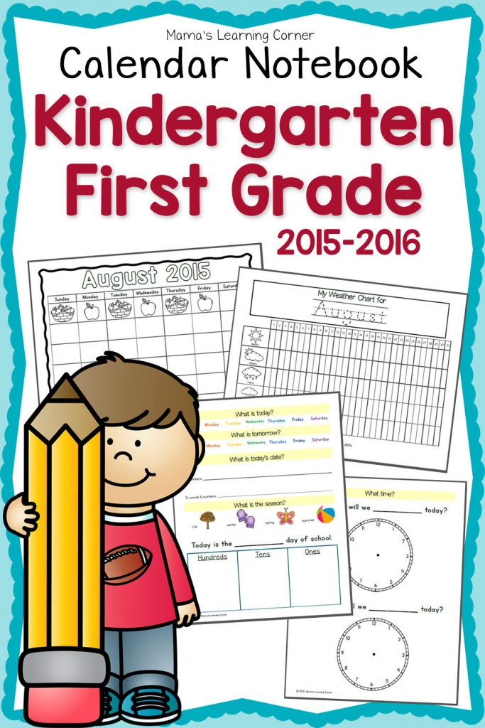 Kindergarten Daily Calendar Notebook : Free kindergarten st grade notebook planner for