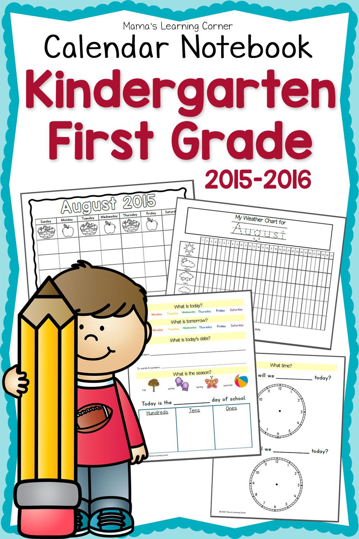 Kindergarten Calendar S S : Free kindergarten st grade notebook planner for