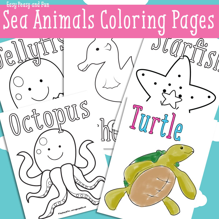 free ocean animal coloring pack free homeschool deals. Black Bedroom Furniture Sets. Home Design Ideas