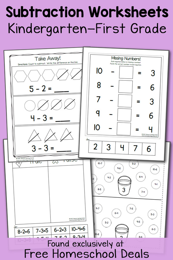 math worksheet : free k 1 subtraction worksheets instant download  free  : Grade 7 A B C Subtraction Worksheet