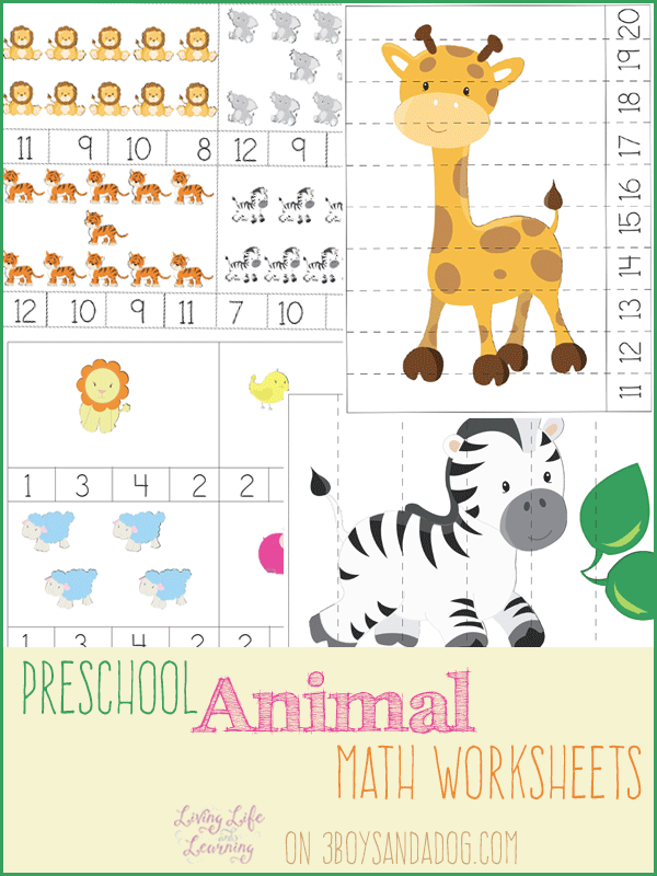 FREE PreK Animal Themed Math Worksheets – Pre Kinder Math Worksheets