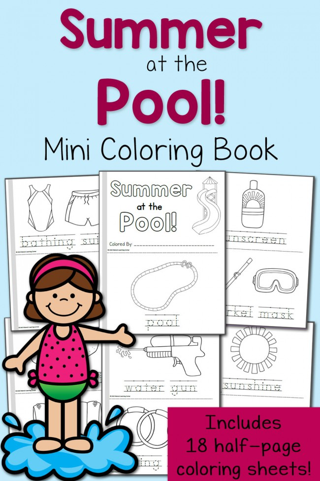 FREE Summer at the Pool Mini Coloring Book and 18 Printable Pages