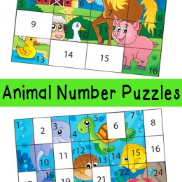 FREE Animal Number Puzzles
