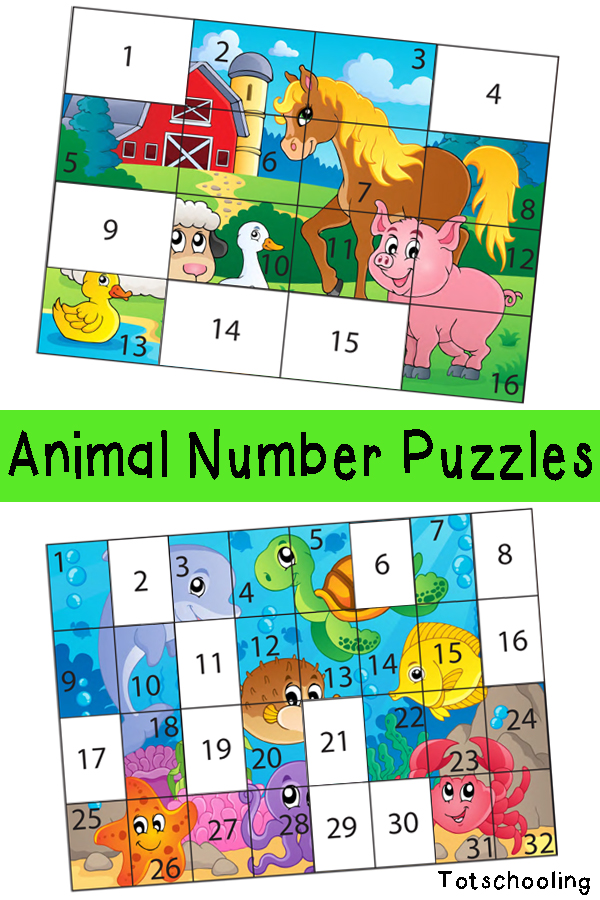 free animal number puzzles free homeschool deals. Black Bedroom Furniture Sets. Home Design Ideas