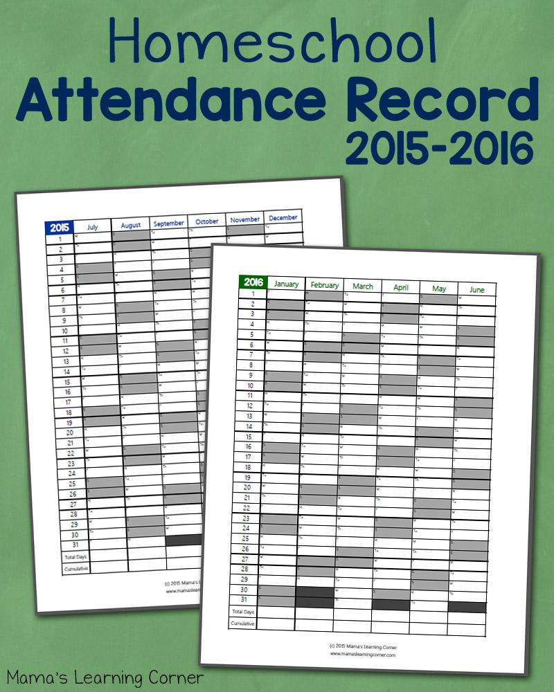 FREE Homeschool Attendance Record For 2015-16 School Year | Free ...