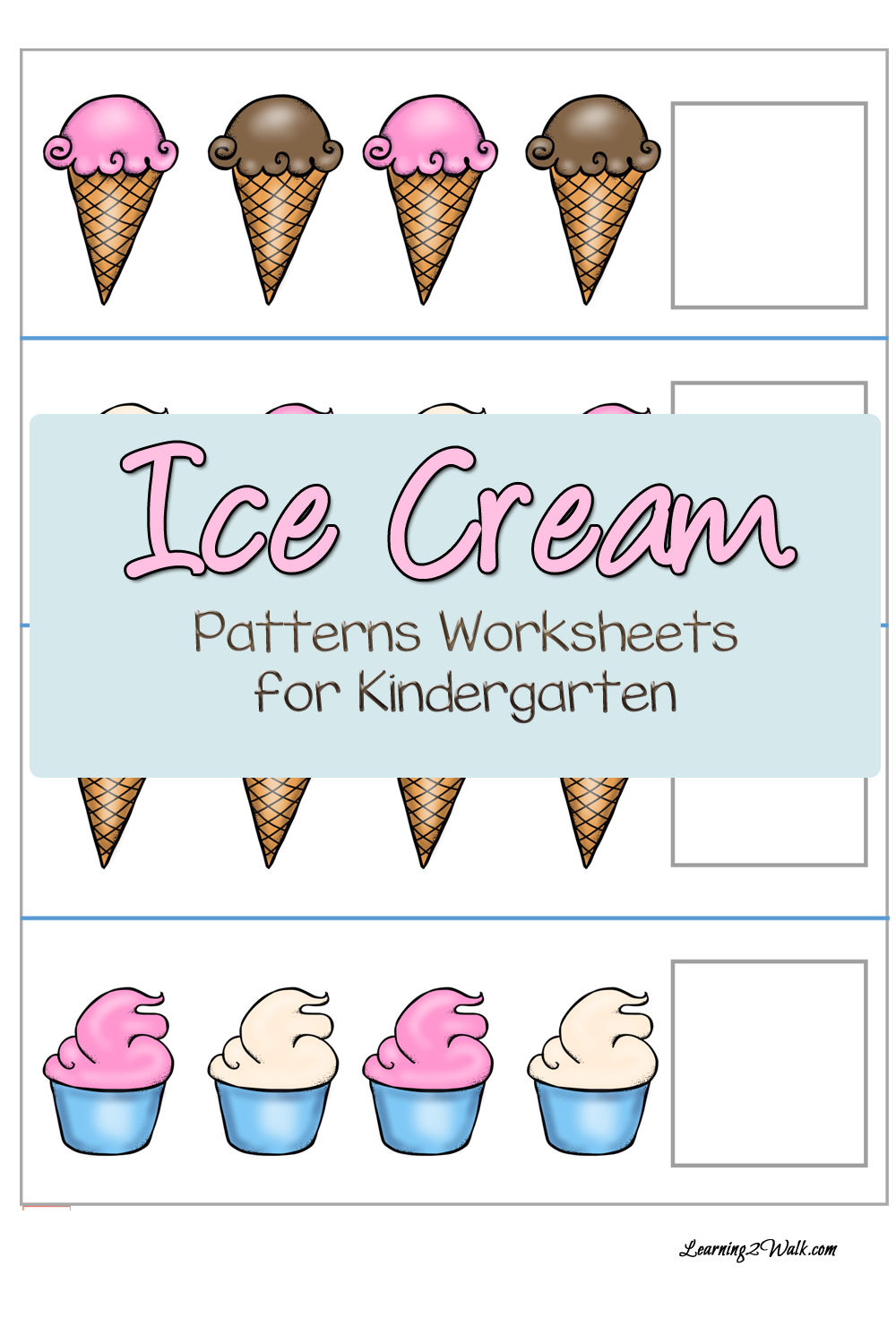 FREE Ice Cream Patterns Worksheets for Kindergarten – Pattern Worksheets Kindergarten