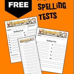 FREE August Spelling Test Printables