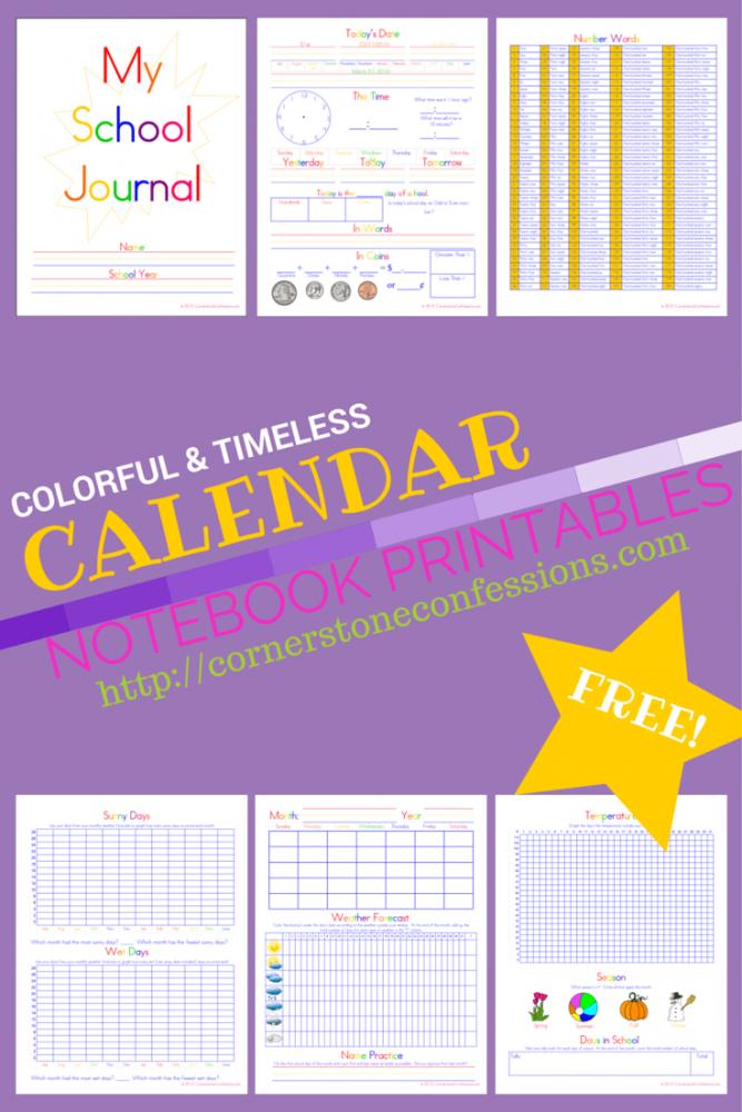 Calendar Notebook Homeschool : Free calendar and journal notebook pages homeschool