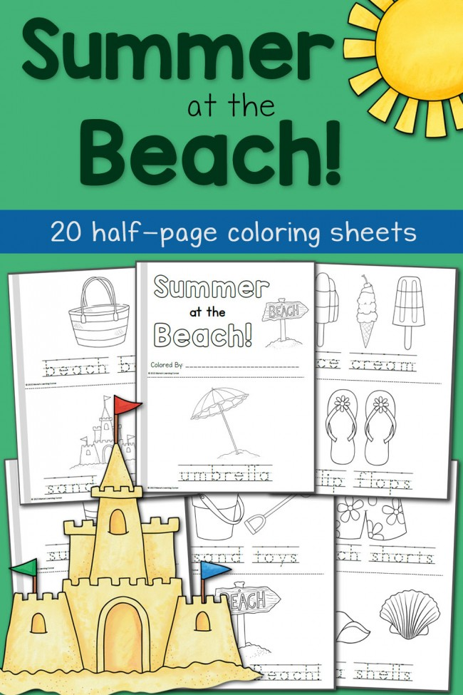FREE Beach Themed Summer Coloring