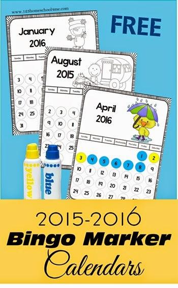 free bingo marker calendars for 2015