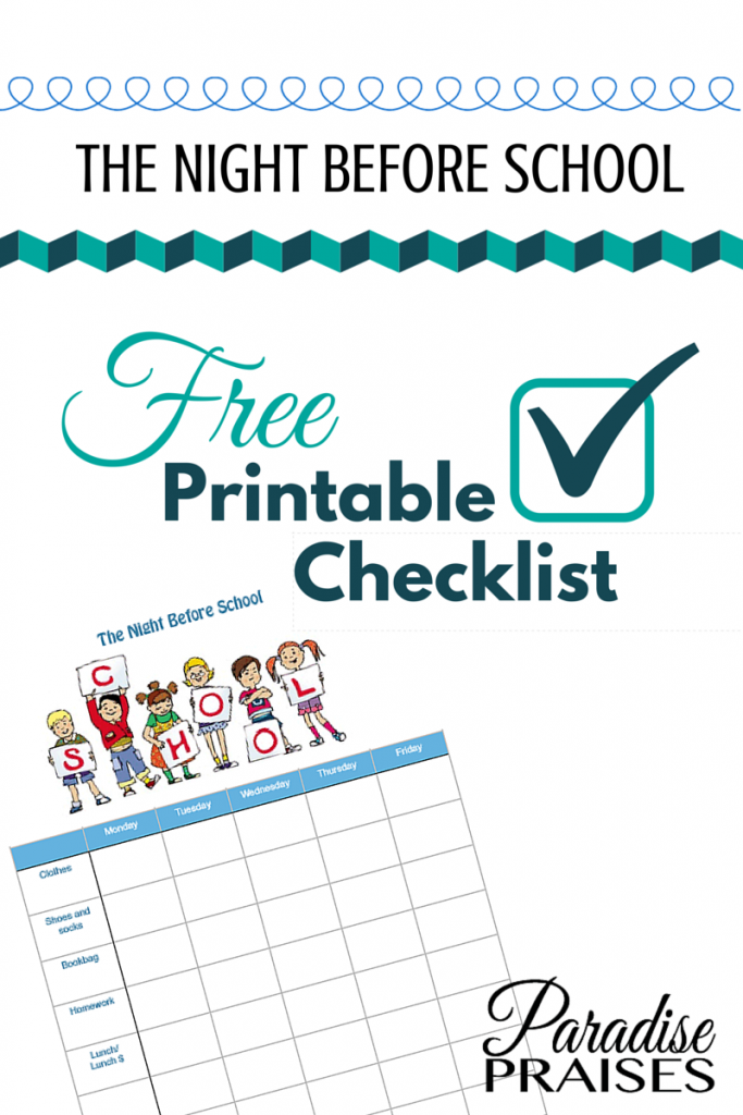 free night before school charts and checklists