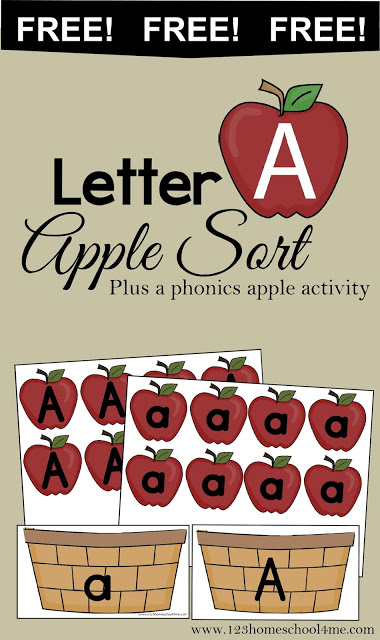 free letter a apple sort instant download free homeschool deals. Black Bedroom Furniture Sets. Home Design Ideas