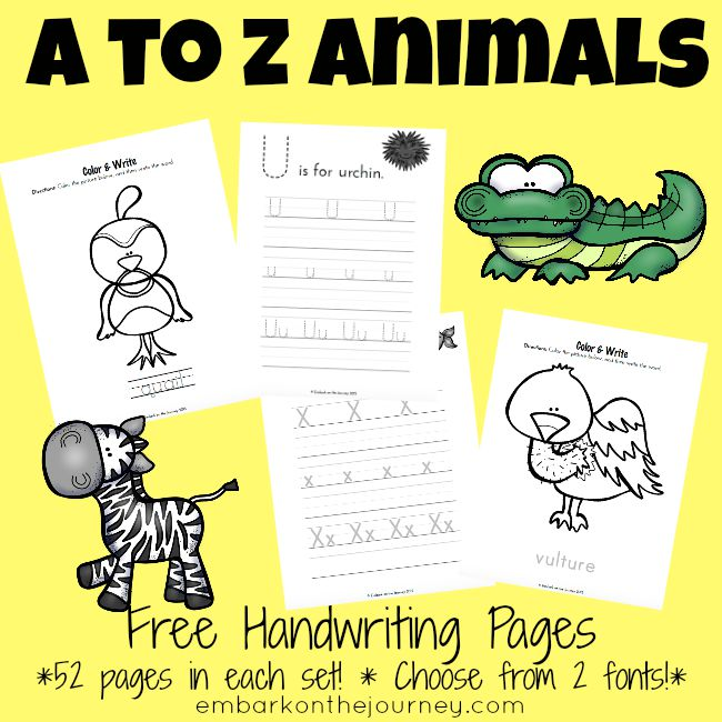 A to Z Animal Writing pages