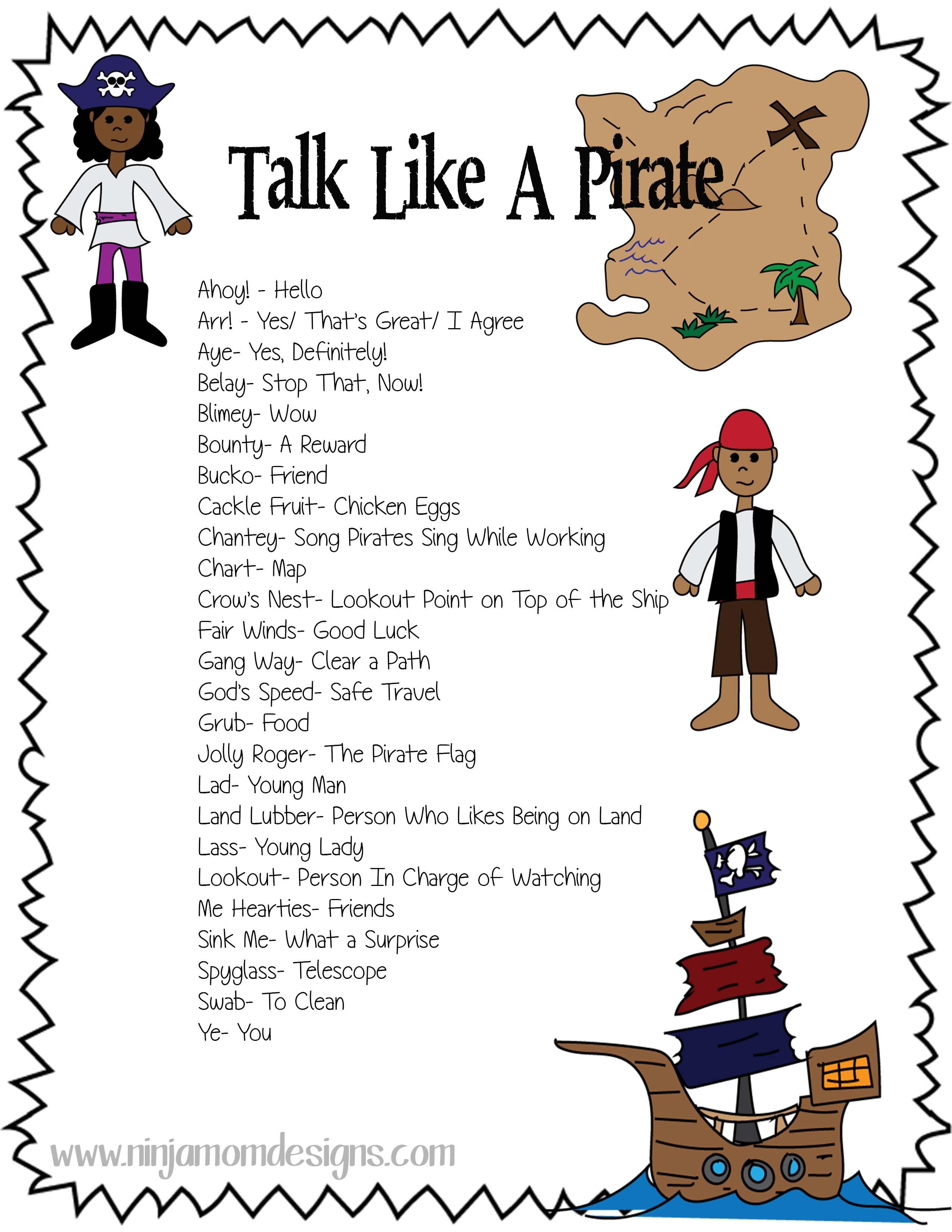 Free Talk Like A Pirate Sheet Free Homeschool Deals