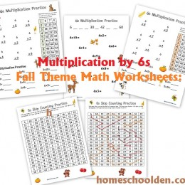 Free Fall-Themed Multiplication by 6s Math Worksheets and Skip Counting Mazes