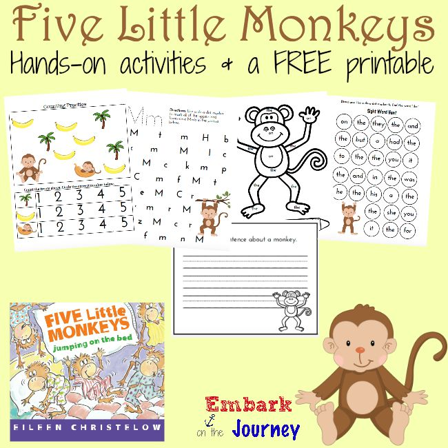 All Worksheets u00bb Five Little Monkeys Jumping On The Bed ...