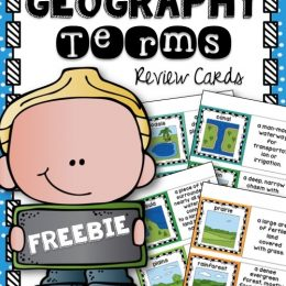 FREE Geography Terms Review Cards ( 18 Pages!)