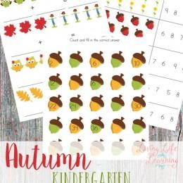 FREE Autumn Kindergarten Math Worksheets