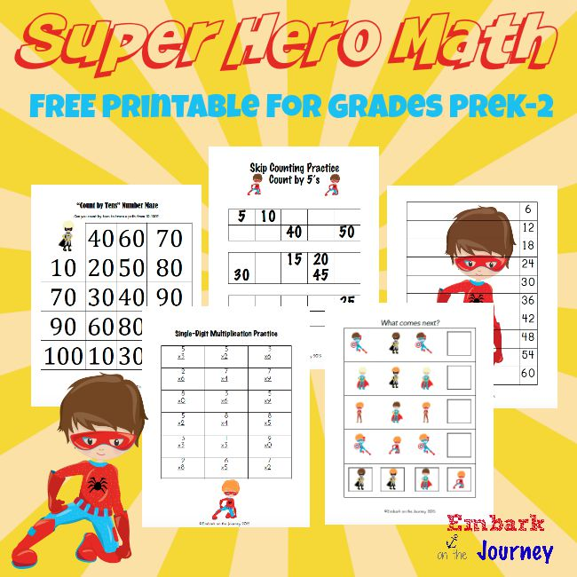 FREE Super Hero Math Pack