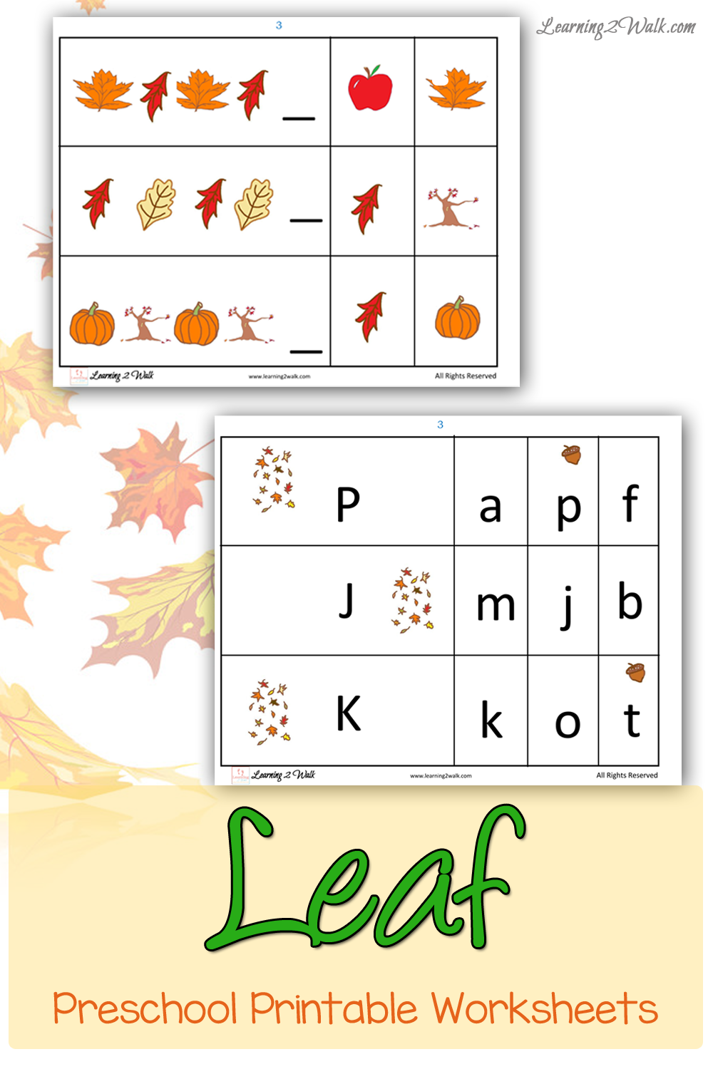 FREE Fall Preschool Printables
