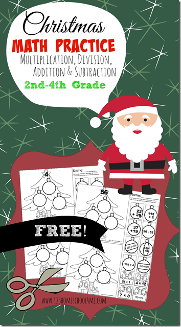 Christmas Math Worksheets For 4th Graders : Free christmas math practice pages homeschool deals