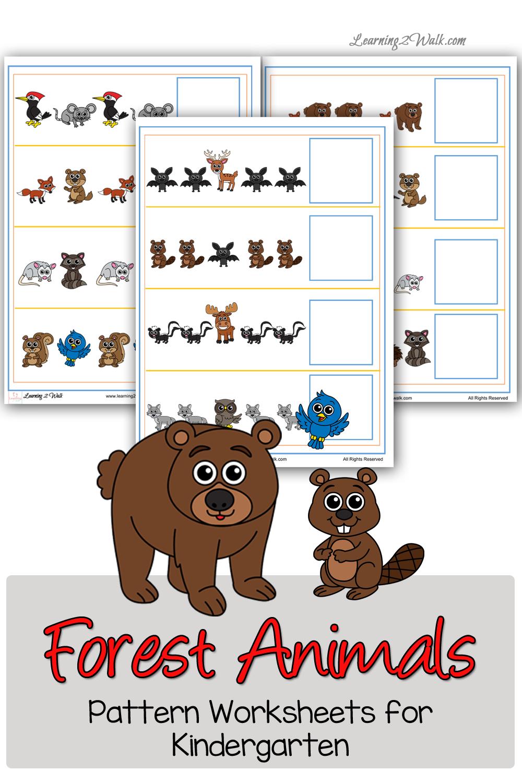 free forest animals pattern worksheets for kindergarten free homeschool deals. Black Bedroom Furniture Sets. Home Design Ideas