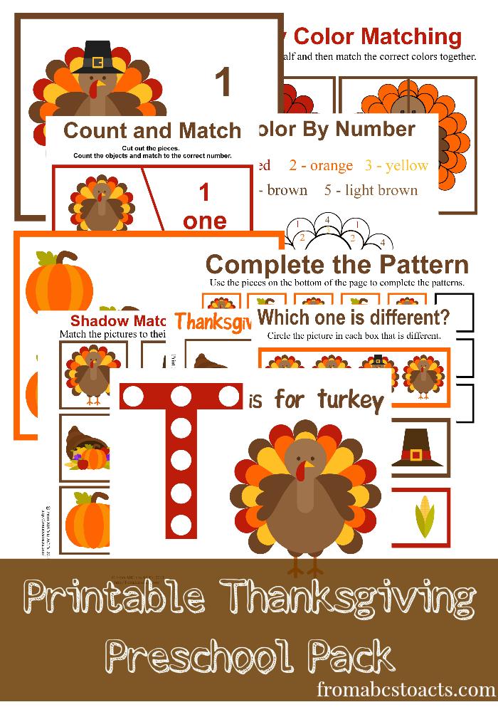 Free prek thanksgiving pack pages homeschool