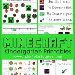 FREE Minecraft Kindergarten Worksheets