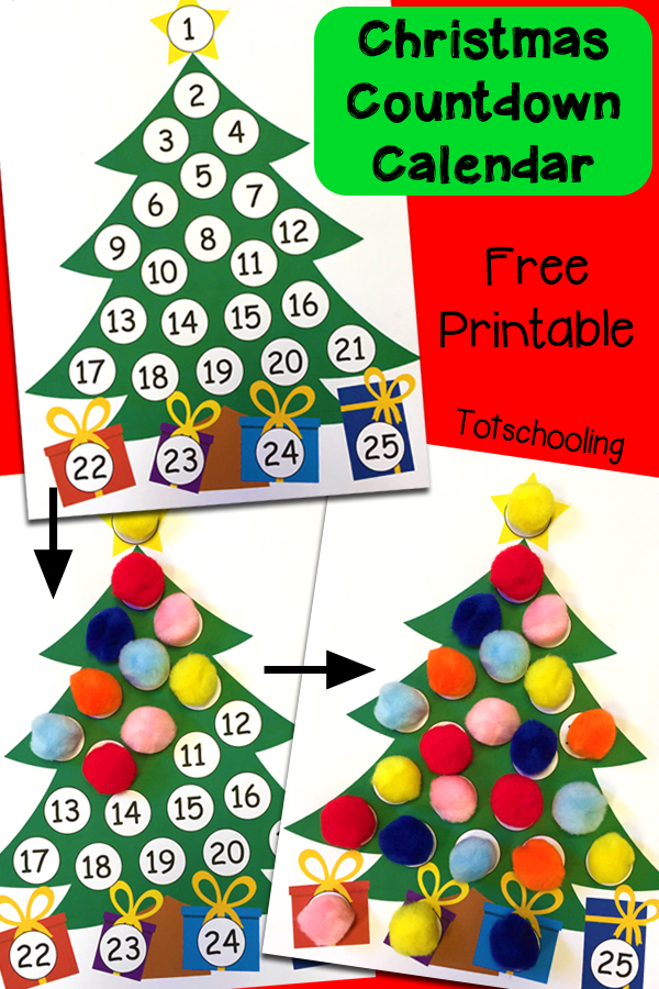 Advent Calendar Preschool : Free christmas countdown advent calendar homeschool