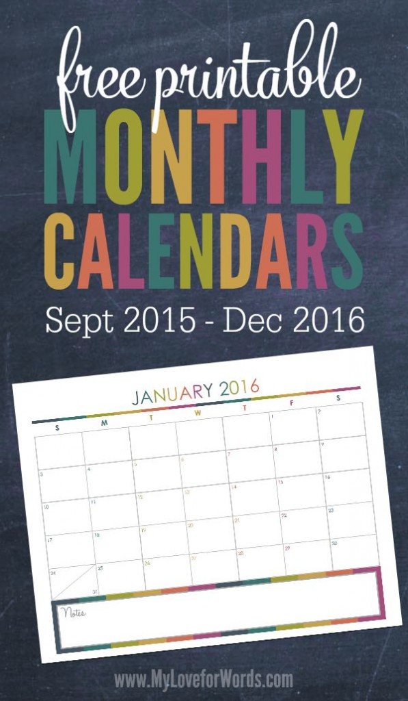 Free Printable Monthly Calendars