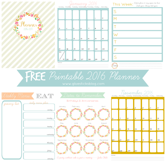 The MEGA List of FREE printable calendars and planners for 2016 ...