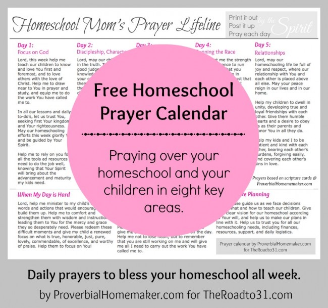Free Homeschool Prayer Calendar