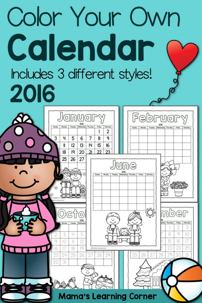 Color Your Own Calendar 2016