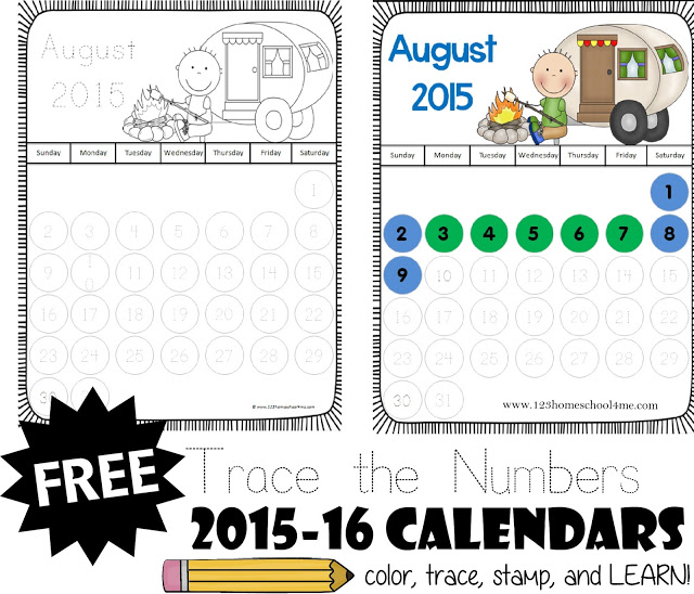 Trace the Numbers Calendar
