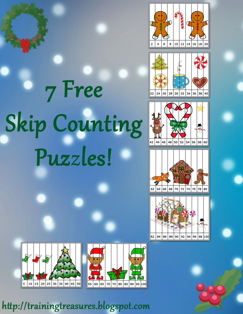 free christmas skip counting puzzles free homeschool deals. Black Bedroom Furniture Sets. Home Design Ideas