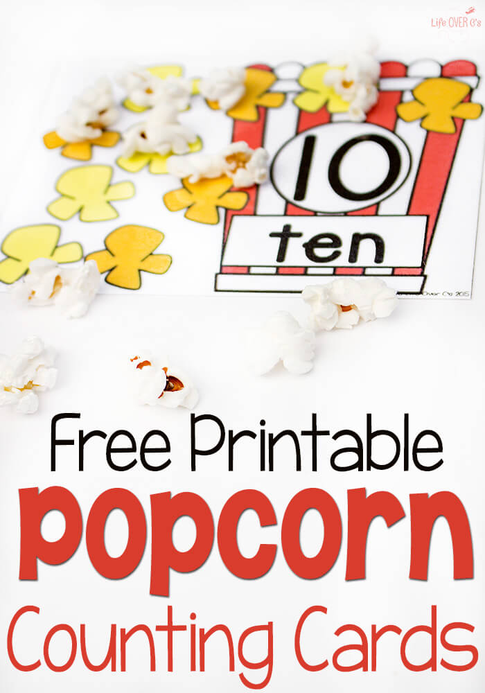 free popcorn themed counting cards
