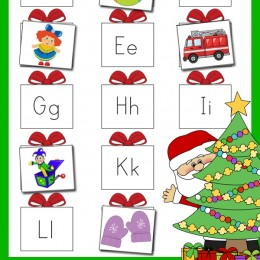 FREE Santa's Presents Letter Sounds Matching