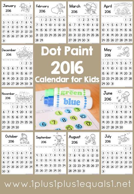 October Calendar Kindergarten : Free dot paint calendar homeschool deals