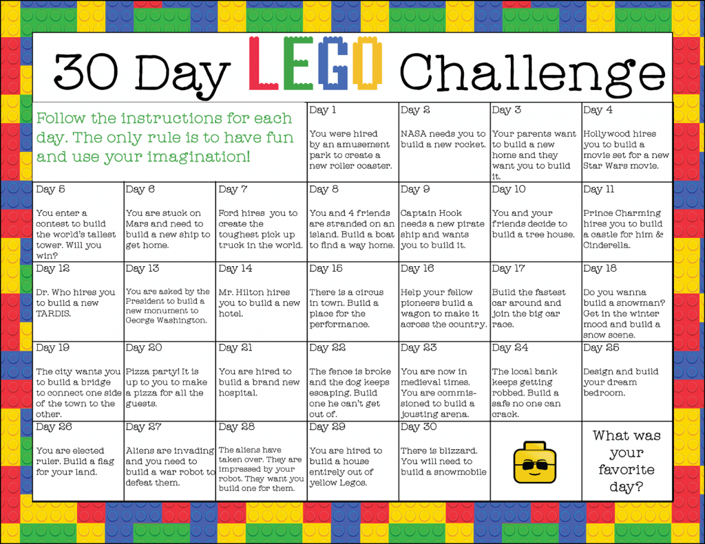 Calendar Art Questions : Free printable day lego challenge instant download